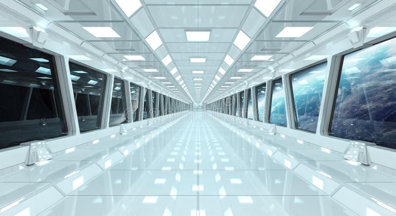Statku kosmicznego korytarz z widokiem na planety ziemi 3D odpłaca się el ilustracja wektor