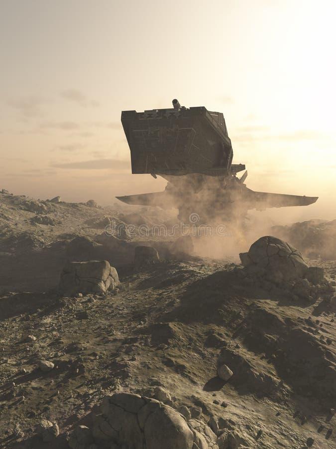 Statku kosmicznego lądowanie na Skalistej planecie ilustracja wektor