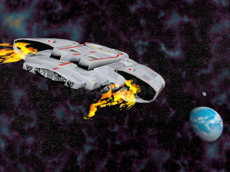 Statku kosmicznego latanie ziemia - 3D odpłacają się royalty ilustracja
