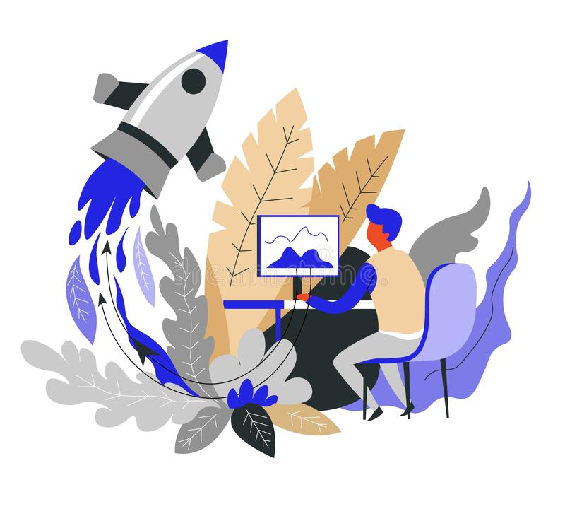 Statku kosmicznego lub rakiety wodowanie lub początku pojęcia biznesowy biznesmen ilustracja wektor