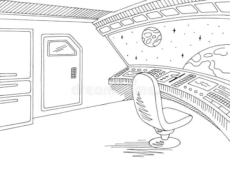 Statku kosmicznego nakreślenia ilustracji wewnętrzny graficzny czarny biały wektor royalty ilustracja