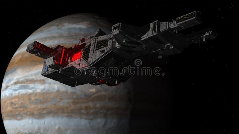 Statku kosmicznego UFO planeta i obcy obrazy royalty free