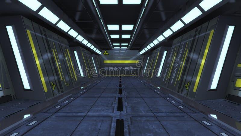 Statku kosmicznego wnętrza korytarz ilustracja wektor