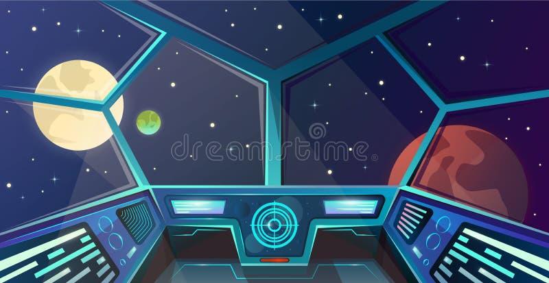 Statku kosmicznego wnętrze kapitanu most w kreskówka stylu Futurystyczna nakazowej poczty Wektorowa ilustracja z radarem, ekran,  ilustracja wektor