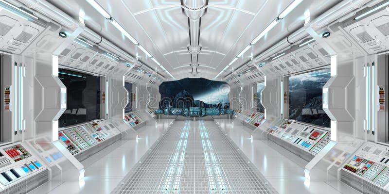 Statku kosmicznego wnętrze z widokiem na odległym planeta systemu 3D odpłaca się royalty ilustracja
