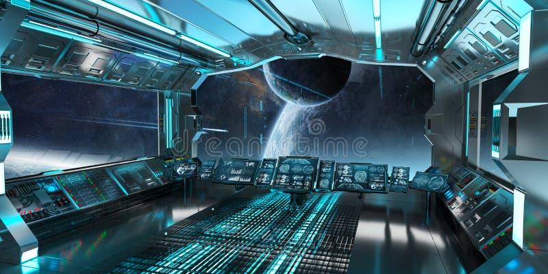 Statku kosmicznego wnętrze z widokiem na odległym planeta systemu 3D odpłaca się ilustracji