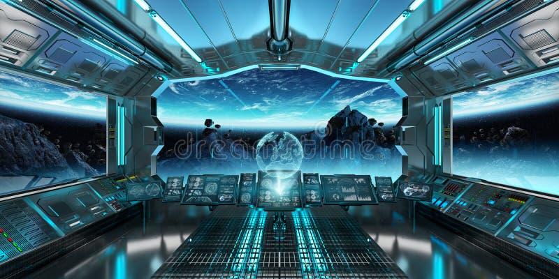 Statku kosmicznego wnętrze z widokiem na planety ziemi 3D odpłaca się el ilustracji