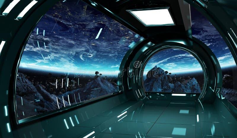 Statku kosmicznego wnętrze z widokiem na Ziemskich 3D renderingu elementach t royalty ilustracja