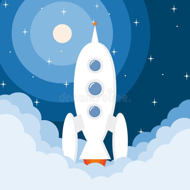 Statku kosmicznego wodowanie rakiety uruchomienie z gwiazdami ilustracji