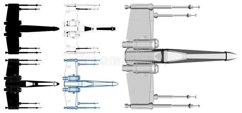 Statku kosmicznego wojownik Odizolowywający Na Białym wektorze ilustracji