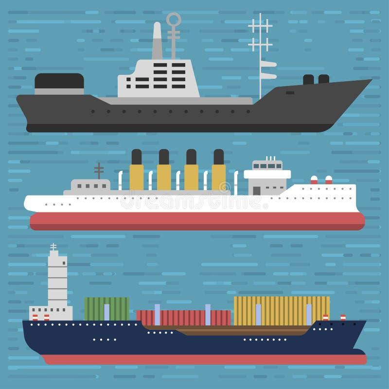 Statku krążownika symbolu naczynia podróży przemysłu żaglówek rejsu łódkowaty denny wektorowy set morska ikona royalty ilustracja