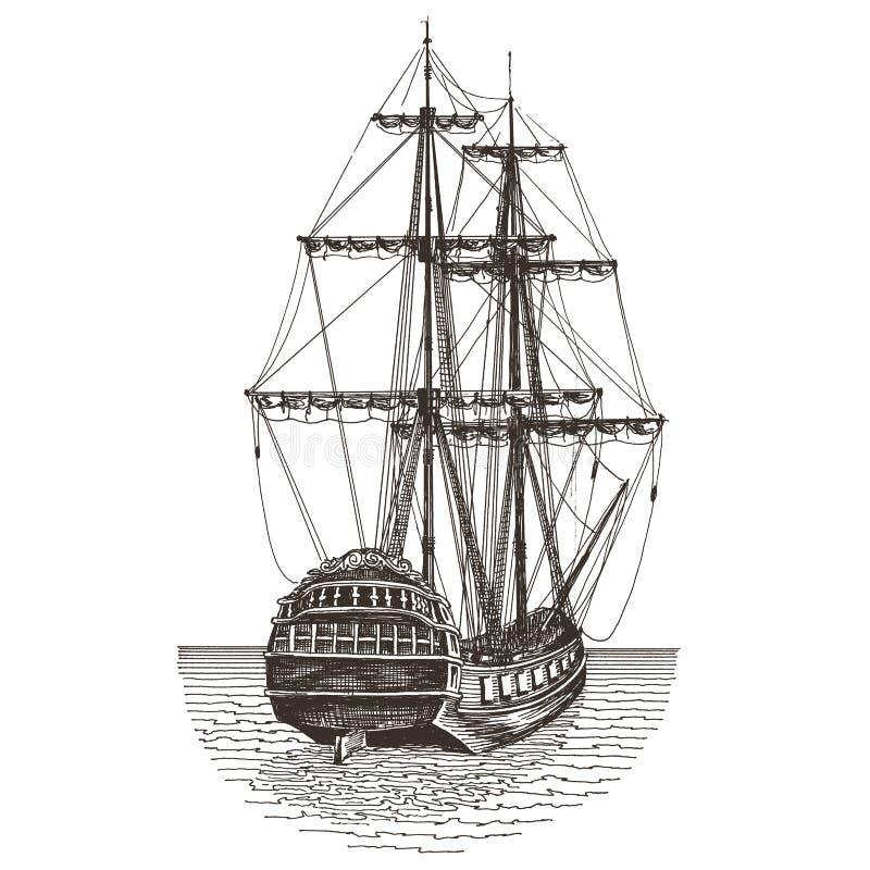 Statku loga projekta wektorowy szablon fregata lub ilustracji