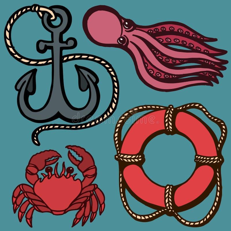 Statku s kotwicy, lifebuoy i morskich zwierzęta, Żołnierza piechoty morskiej set Odosobnienie przedmioty ściągania ilustracj wize ilustracja wektor