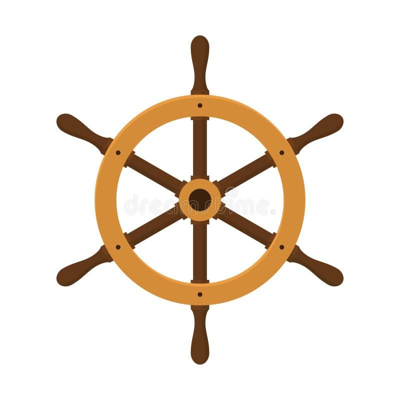Statku ster Jacht kierownica w mieszkanie stylu ilustracji