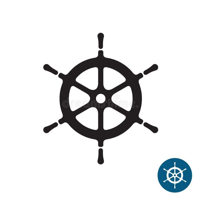Statku steru czerni sylwetki ikona Jacht łodzi rudder ilustracji