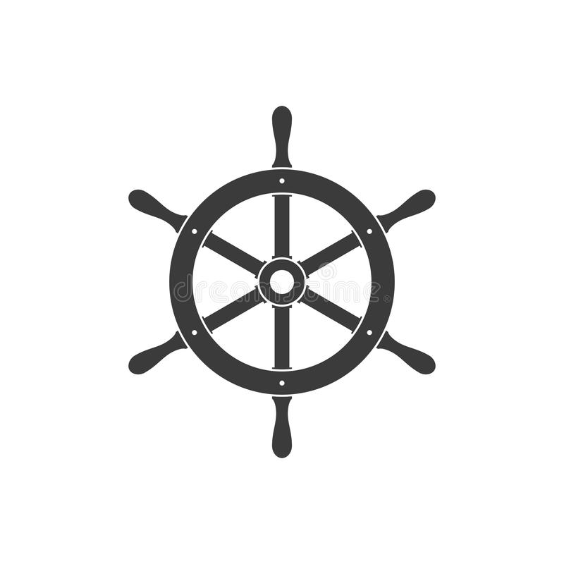 Statku steru ikona odizolowywająca kierownica jacht ilustracji