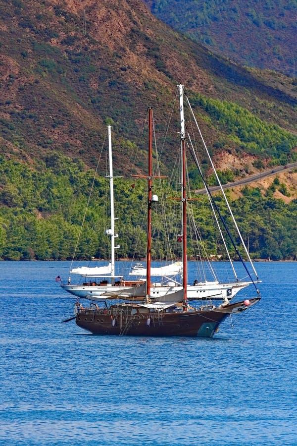 3 statku w morzu obraz stock
