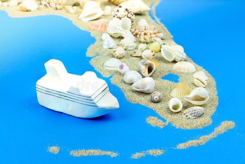 Statku wycieczkowego model lokalizuje z wybrzeża Floryda obrazy royalty free