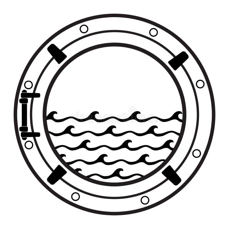 Statku wycieczkowego porthole kabinowa ikona ilustracja wektor