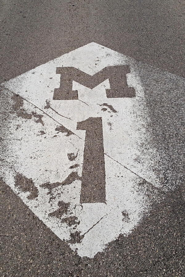 Statlig beteckning för den Woodward avenyn arkivfoton
