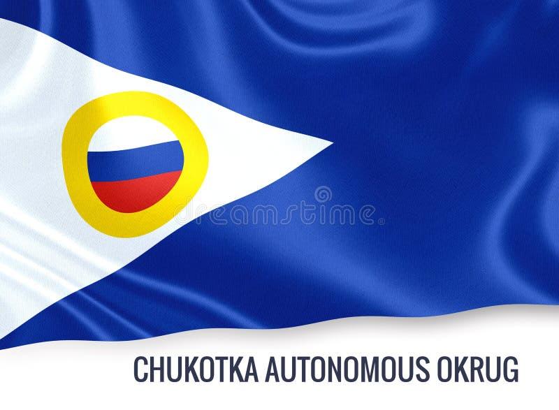 Statlig Chukotka autonom Okrug för ryss som flagga vinkar på en isolat stock illustrationer