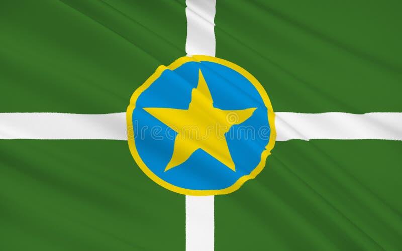 Statlig flagga av Jackson - den huvud och största staden i tillståndet av stock illustrationer