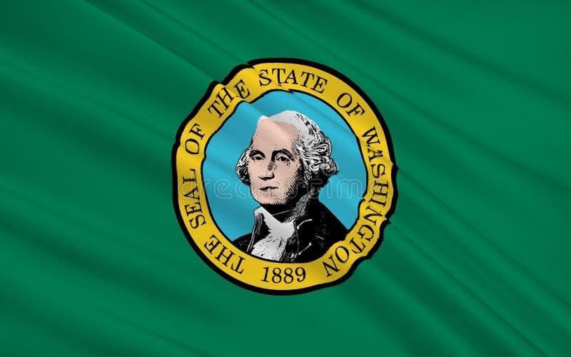 Statlig flagga av Washington - tillståndet i den nordvästliga eniga Staen stock illustrationer