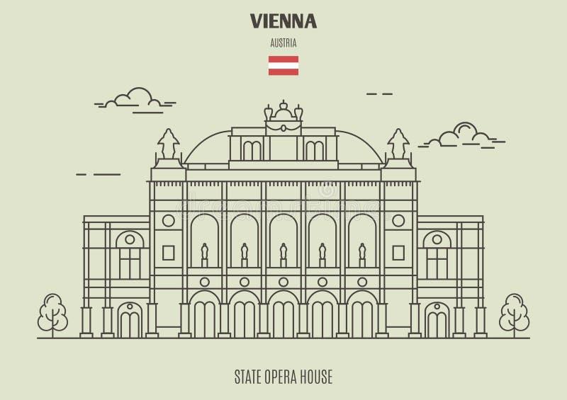 Statlig opera Housel i Wien, Österrike Gränsmärkesymbol stock illustrationer