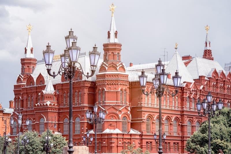 Statligt historiskt museum på röd fyrkant i Moskva arkivfoto