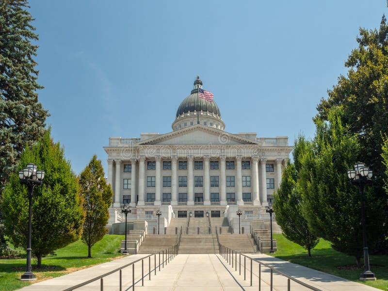 Stato del complesso di Utah Capitol Hill a Salt Lake City, la corte rotunda esteriore storica dell'interno, della casa, del senat fotografia stock libera da diritti