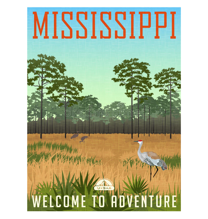 Stato del manifesto o dell'autoadesivo di viaggio di Mississippi illustrazione vettoriale