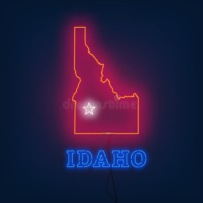 Stato della mappa dell'Idaho al neon su fondo scuro illustrazione vettoriale