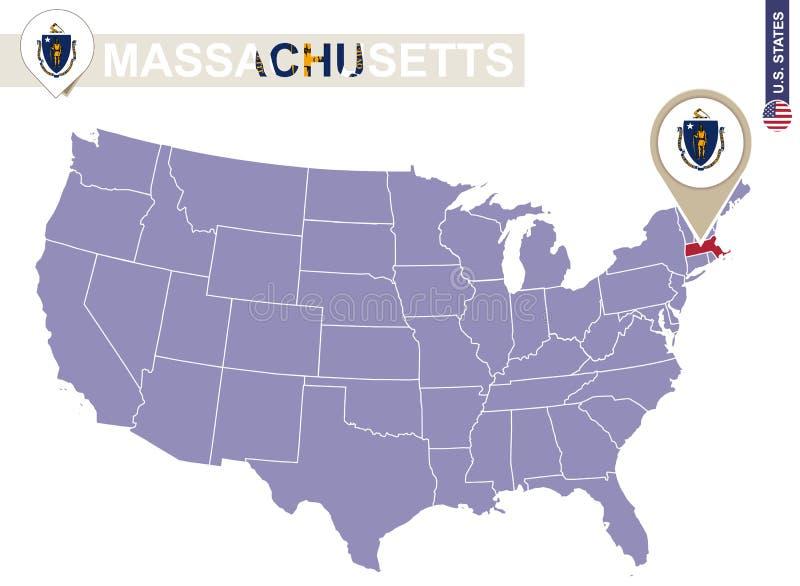 Stato di Massachusetts sulla mappa di U.S.A. Bandiera e mappa di Massachusetts illustrazione di stock