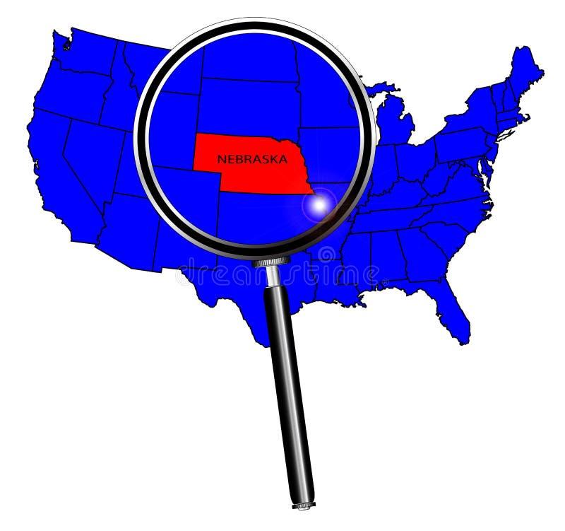 Stato di U.S.A. sotto una lente d'ingrandimento Nebraska illustrazione di stock