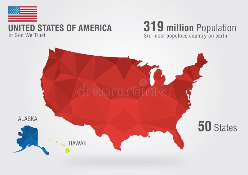 Stato unito dell'America Mappa di U.S.A. su terra con una p fotografie stock
