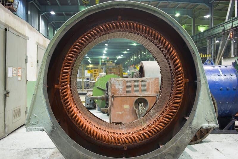 Stator av en stor elektrisk motor royaltyfri bild