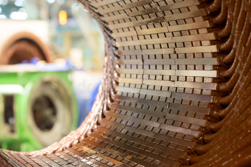 Stator of a big electric motor stock photography