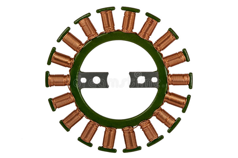 Stator of the stepper motor, isolated on white background.  royalty free stock image
