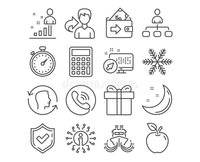 Stats, κιβώτιο δώρων και Snowflake εικονίδια Σημάδια χρονομέτρων, υπολογιστών και σκαφών Σύμβολα ταυτότητας διαχείρισης, πορτοφολ διανυσματική απεικόνιση