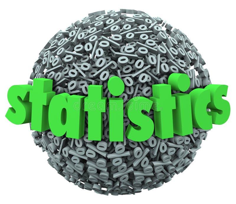 Stats шарика сферы знака процента слова статистик иллюстрация вектора