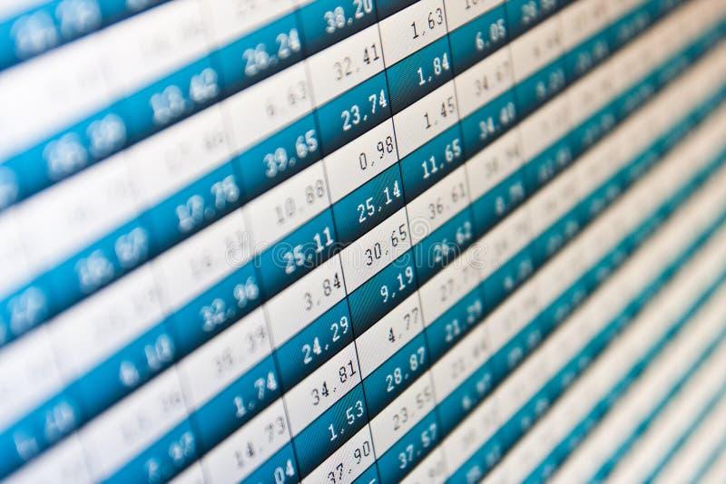 Stats del mercato sullo schermo di computer fotografia stock
