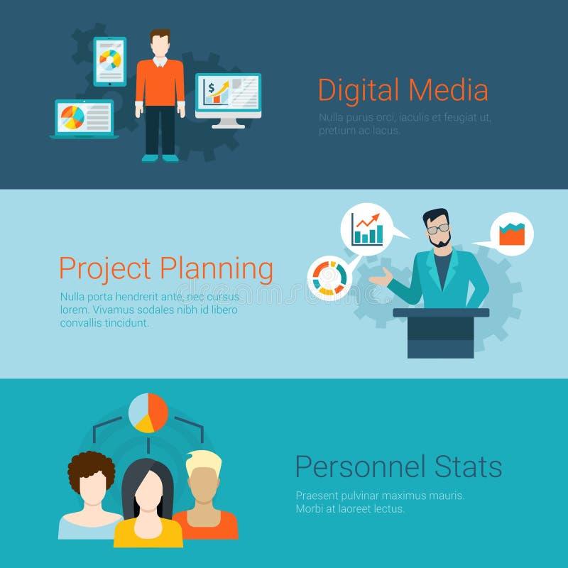 Stats digital do planeamento de projeto dos meios da bandeira lisa do slider do vetor ilustração stock