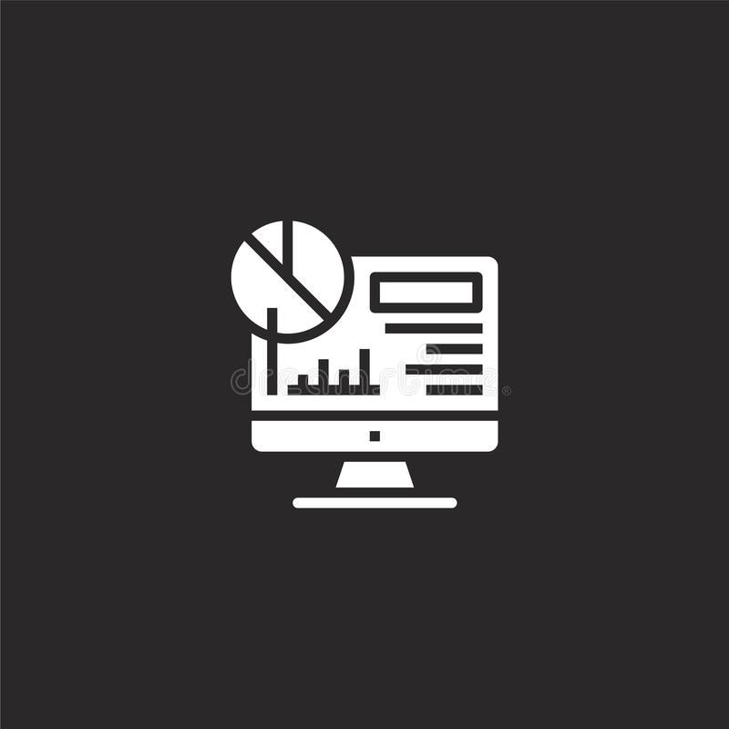Stats icon. Filled stats icon for website design and mobile, app development. stats icon from filled seo collection isolated on. Black background royalty free illustration