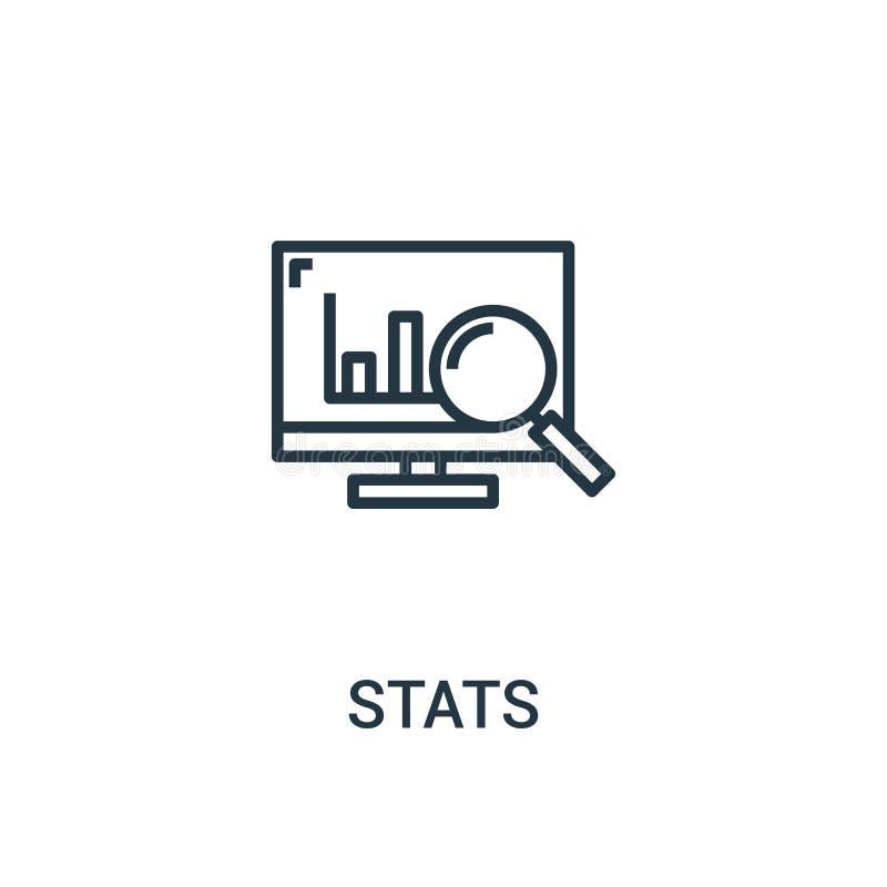 stats pictogramvector van seoinzameling De dunne lijn stats schetst pictogram vectorillustratie Lineair symbool voor gebruik op W royalty-vrije illustratie