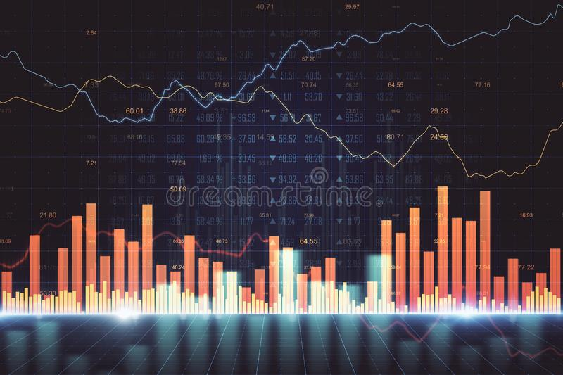 Stats and trade concept. Creative forex chart background. Stats and trade concept. 3D Rendering royalty free illustration