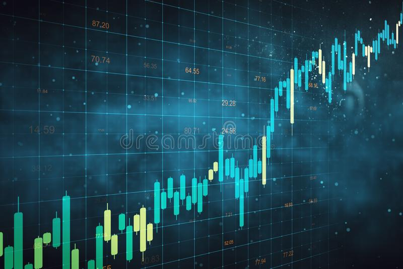 Stats and trade concept. Creative forex chart grid sketch on blurry blue background. Stats and trade concept. 3D Rendering vector illustration