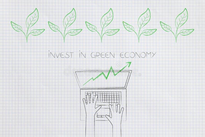 Stats verde do investimento da economia que vão acima e folhas acima ilustração do vetor