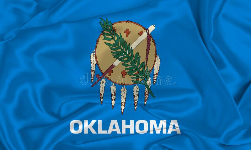 Statsflaggan Silk Oklahoma royaltyfria bilder