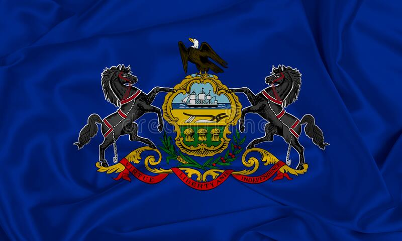 Statsflaggan Silk Pennsylvania arkivfoton