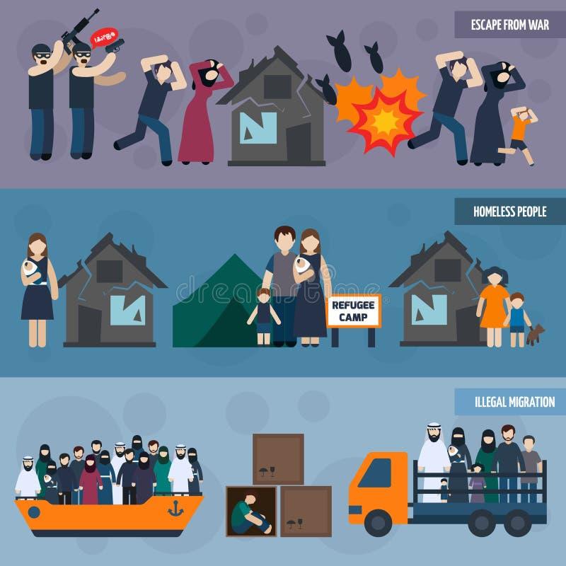 Statslös flyktingbaneruppsättning vektor illustrationer